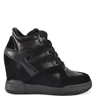 Ash BODY Wedge Trainers Black Leather & Suede