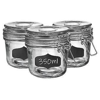 Glass Storage Jars with Airtight Clip Lid and Chalkboard Stickers - 350ml Set - Clear Seal - Pack of 6