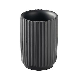 Toothbrush Holder - Bathroom Sink Basin Tumbler Caddy for Toothbrushes, Toothpaste - Concrete - Black