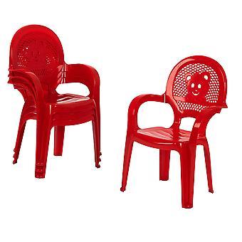Resol 4 Piece Mini Kids Garden Chair Set - Plastic Outdoor Play Bedroom Children's Furniture - Red