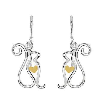Dew Sterling Silber Katze mit Gold Platte Herz Tropfen Ohrringe 60347GD028