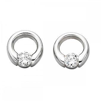 Beginnings Sterling Silver E2920C Clear Cz Open Disc Stud Earrings