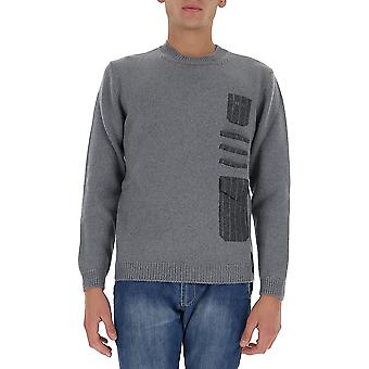 Fendi Fzy129ae43f0duc Men's Grey Wool Sweater