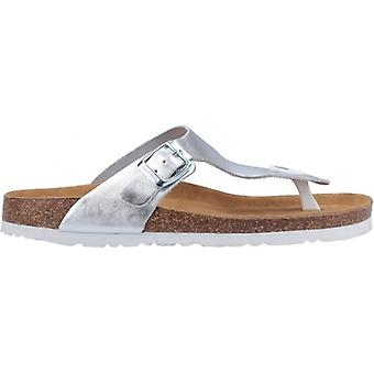Hush Puppies Kayla Ladies Leather Toe Post Sandals Silver
