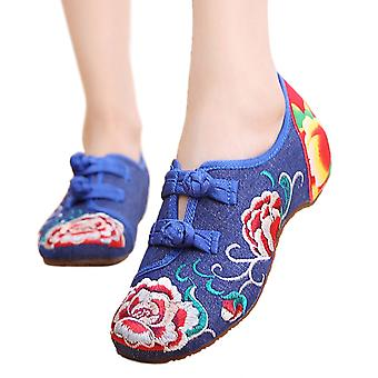 Old Beijing Cloth Shoes Summer National Style Embroidered Shoes Increased Within Square Dance Shoes Mom Vintage Shoes