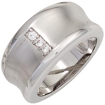 Damring bred 925 sterling silver rodium matted 3 cubic zirconia silver ring storlek:54