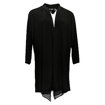 Nina Leonard Women's Plus Sweater Cardigan W/ Back Zipper Black 703-537