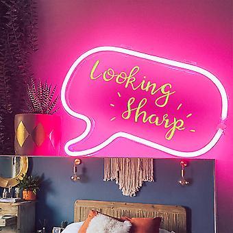 Neon Sprache Blase Rahmen Licht