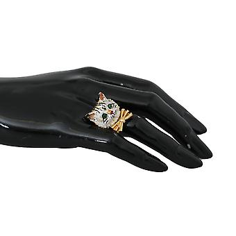 Gold Brass Resin White Cat Pet Brand Accessory Ring