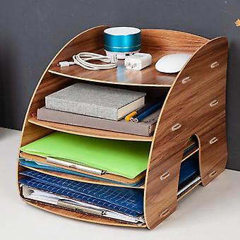 Wooden Color Office Desk Organizer, Diy Document File Cabinet Multifunction