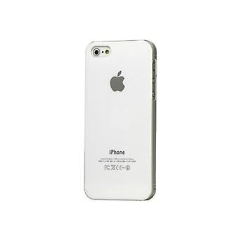 Iphone 5 Hard Plastic Cover Bagetui med Apple-logo - Hvid