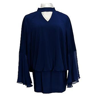 Laurie Felt Women's Plus Top Knit Top w/ Woven Bell Sleeves Azul A301676