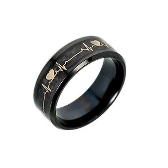 Lumineux Ecg Ring Stainless Steel Promise Heartbeat Ring Glowing Jewelry Femmes
