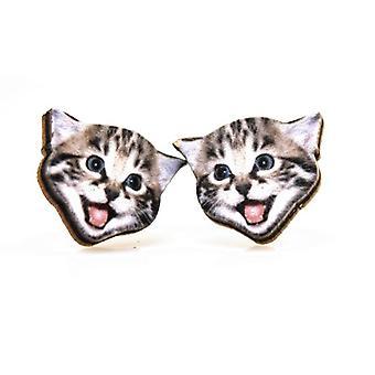 Playful Kitten Stud Earrings