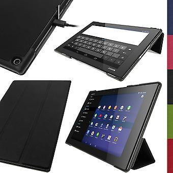 """Igadgitz Premium schwarz Pu Leder Smart Cover Case für sony xperia z2 Tablet sgp511 10.1"""" mit auto"""