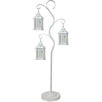 Decoratieve boom 125 cm en 3 decoratieve lantaarns 24,5 cm - wit