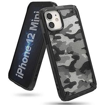 Ringke Fusion X Design Backcase Hoesje iPhone 12 Mini - Zwart Camo
