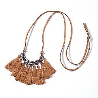 Vintage Long Leather Rope Chain - Boho Ethnic Tassel Pendant Choker Necklace