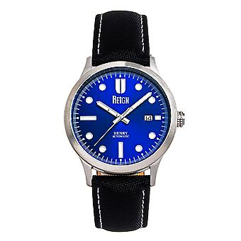 Reign Henry Automatic Canvas-Overlaid Leather-Band Watch w/Date - Blue