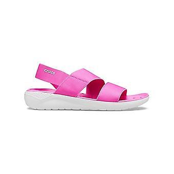 Crocs 206081 Literide Stretch Sandal Naisten Sandaalit Sähkö vaaleanpunainen / melkein valkoinen