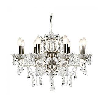 Lámpara Colgante Paris, Plata Satinada Y Cristal, 8 Bombillas