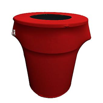La Linen Stretch Spandex Trash Can Cover 55-Gallon Round,Rouge