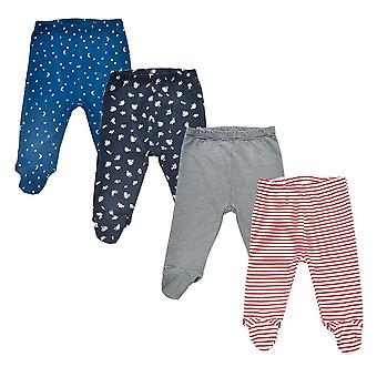 4 Pieces/lot 0-18 Months Newborn Baby Cotton Footed Trousers