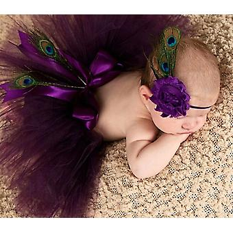 Princess Plum Peacock Feather Skirt With Vintage Headband - Photography Props