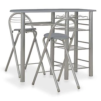 3 Piece Bar Set With Shelves Wood And Steel Grey