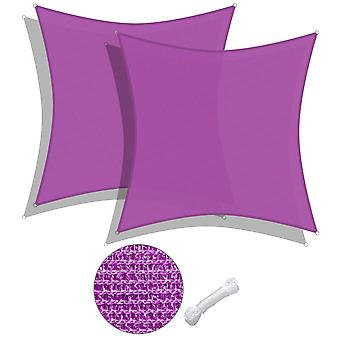 2 Pack 16x16 Ft 97% UV Block Square Sun Shade Sail Canopy Patio Poolside Deck