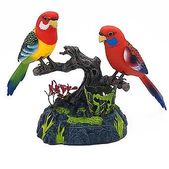 Hauska perheen lemmikki pari rakastavaisia ääniohjaus puhuva lintu