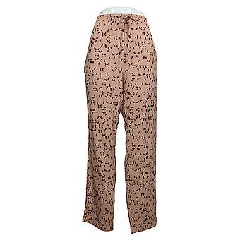 Nogen Kvinder ' s Børstet Jersey Trykt Sleep Tie Linning Pink A387702