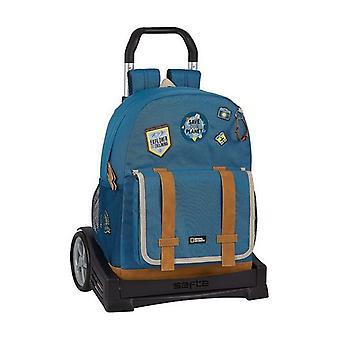 School Rucksack with Wheels Evolution National Geographic Explorer Blue Brown