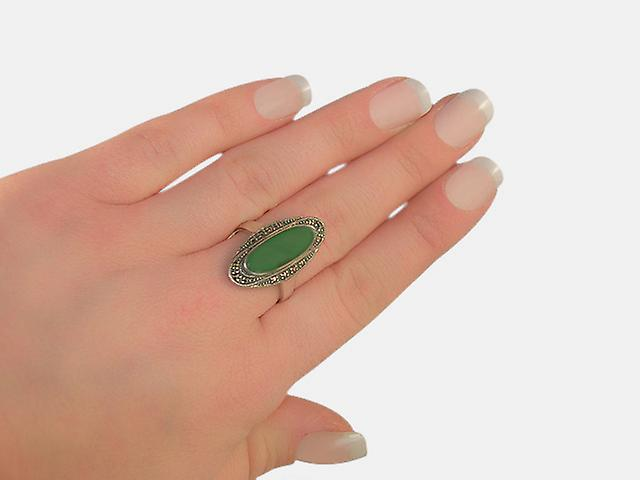 Sterling Silver 1.60ct Green Chalcedony & Marcasite Art Deco Ring