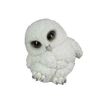 Adorable Big Eyed White Baby Snowy Owl Mini Statue 4.75 Inches High