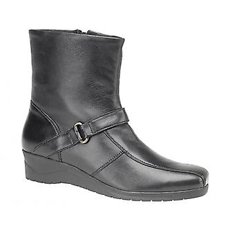Mod Comfys Bernadetta Ladies Leather Zip Ankle Boots Black