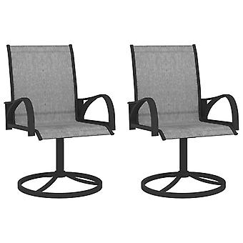 vidaXL garden swivel chairs 2 pcs. Textilene and steel grey