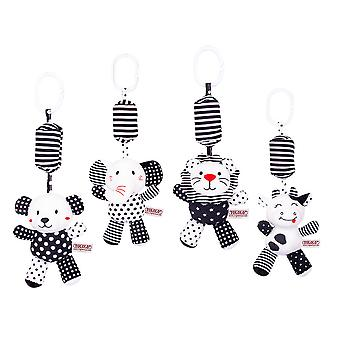 Black And White Animals Rattling Doll Cute Baby Hanging Toys With Bb Device Sound Paper For Children Soft Plush Rattle Toys