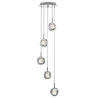 Dar LIVIA Cluster LED Pendant Light Polido Chrome & Glass Spheres, 5x LED