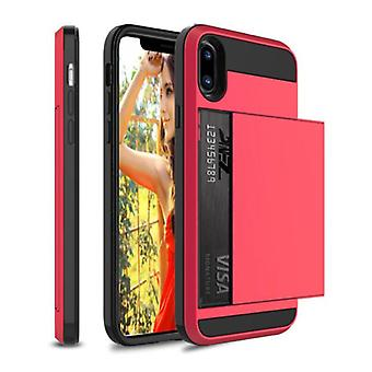 VRSDES iPhone 7 - Wallet Card Slot Cover Case Case Business Red