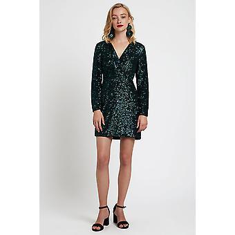 Louche  Womens Alara Sequin Mini Dress Green