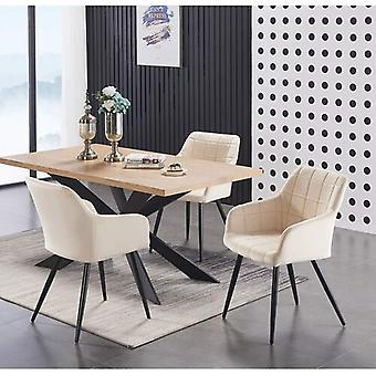 Conjunto gastronômico Lusso & Enzo | Mesa de Jantar Moderna | Cadeira de jantar de veludo | Conjunto moderno |  (preto/carvalho & creme)