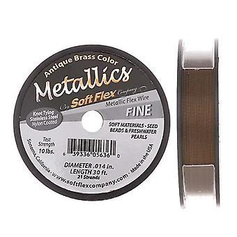Soft Flex Metallics, 21 Strand Fine Beading Wire .014 Inch Thick, 30 Feet, Antique Brass