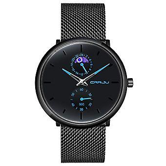 SUPBRO Ultra thin men's watches casual black quartz minimalist with black mesh strap(1)