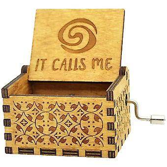 FengChun Moana es nennt mich Musik-Box Holz graviert Geschenk Musical Box Hand Kurbel Moana Musik-Box für