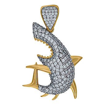 10k Two tone Gold Mens Cubic zirconia Wildlife Animal Sealife Fish Charm Pendant Necklace Jewelry Gifts for Men