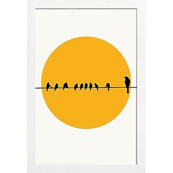 JUNIQE Print -  Bird Family - Sonnenuntergänge Poster in Gelb & Schwarz