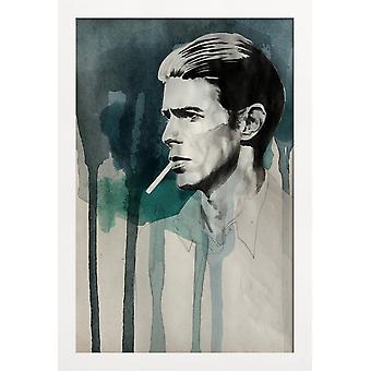 JUNIQE Print -  David Bowie - David Bowie Poster in Schwarz & Türkis