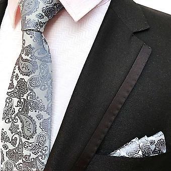 Harmaa & hopea paisley solmio & tasku neliö setti