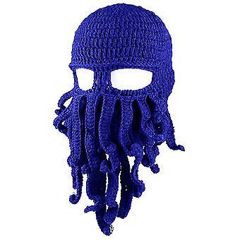 Modrá chobotnica klobúk funny maskované ručne vyrábané háčkované vlnené teplý klobúk az9428